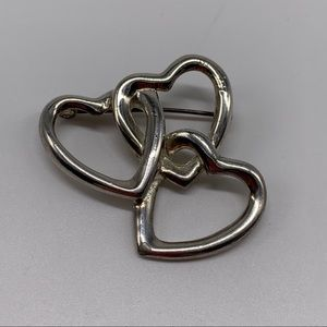 Heart Outline Linked Brooch Silver Tone Pin Love